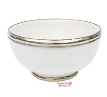 Moroccan Ceramic Bowl with Silver Edge Handmade in Morocco. 10 cm / 4 in  (White)